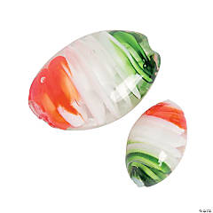 Green, White & Red Swirl Premium Glass Beads