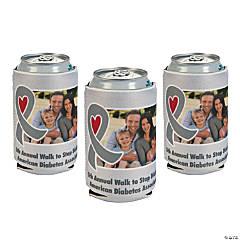 Grey Awareness Ribbon Custom Photo Can Coolers