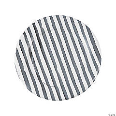 Grey Striped Watercolor Paper Dinner Plates