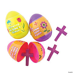 Growing in Grace Cross-Filled Plastic Easter Eggs - 12 Pc.