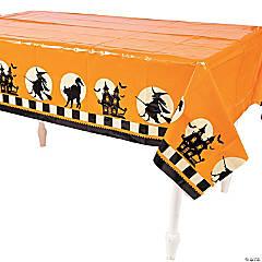 Halloween Silhouette Plastic Tablecloth