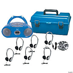 HamiltonBuhl 6 Person Listening Center with Bluetooth® CD/Cassette/FM Boombox and On-Ear Headphones