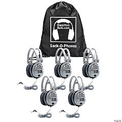 HamiltonBuhl Sack-O-Phones, 5 SC7V Deluxe Headphones with Volume Control in a Carry Bag, Pack of 5