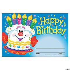 Happy Birthday Cake Award Certificate - 30 per pack, 12 packs
