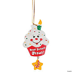 """Happy Birthday Jesus!"" Cupcake Christmas Ornaments"