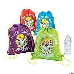 Happy Birthday Jesus Medium Drawstring Bags