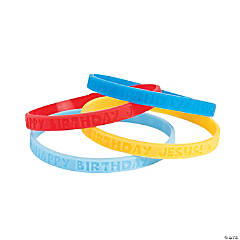 Happy Birthday Jesus Thin Band Silicone Bracelets
