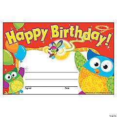 Happy Birthday Owl-Stars!® Award Certificate - 30 per pack, 12 packs