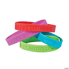 Happy Birthday Rubber Bracelets