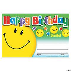 Happy Birthday Smile Award Certificate - 30 per pack, 12 packs