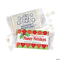 """Happy Holidays"" Microwave Popcorn Stickers"