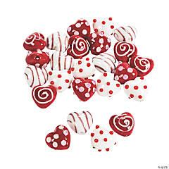 Heart Lampwork Beads - 17.5mm-18.5mm