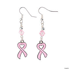 Heart Pink Ribbon Earrings Craft Kit