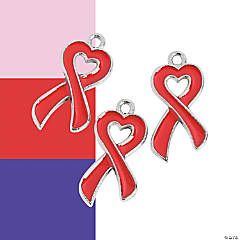 Heart-Shaped Awareness Ribbon Enamel Charms