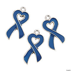 Heart-Shaped Enamel Blue Awareness Ribbon Charms