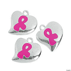 Heart-Shaped Pink Ribbon Charms - 20mm