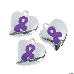 Heart Shaped Purple Ribbon Charms - 20mm