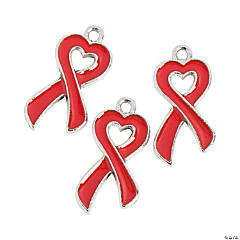 Heart-Shaped Red Awareness Ribbon Enamel Charms