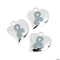 Heart-Shaped Silver Awareness Ribbon Charms