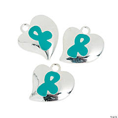 Heart-Shaped Teal Awareness Ribbon Charms