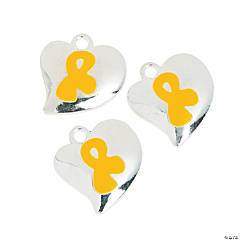 Heart-Shaped Yellow Awareness Ribbon Charms