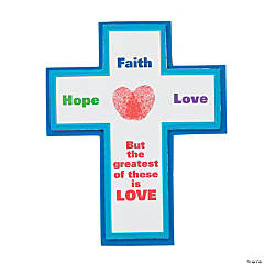 Heart Thumbprint Cross Magnet Craft Kit