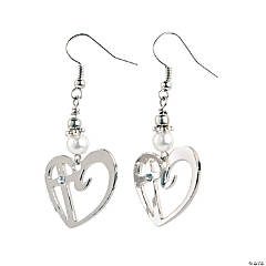 Heart with Cross Charm Earrings Craft Kit