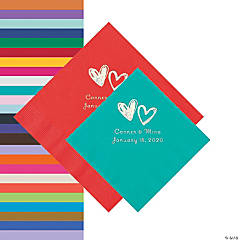 Hearts Personalized Napkins - Beverage or Luncheon