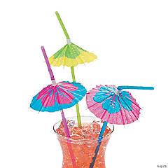 Hibiscus Parasol Plastic Straws