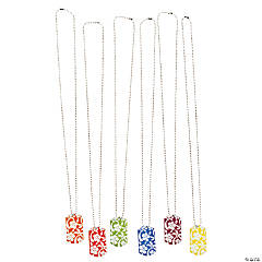 Hibiscus Print Dog Tag Necklaces