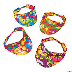 Hibiscus Print Luau Visors Assortment