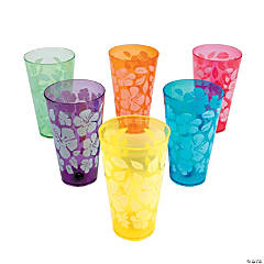 Hibiscus Print Plastic Cups