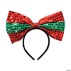 Holiday Big Bow Sequin Headbands