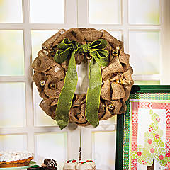 Holiday Burlap Wreath Idea