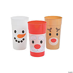 Holiday Faces Plastic Tumblers