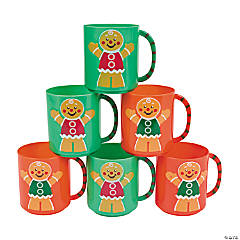 Holiday Gingerbread Man Plastic Mugs