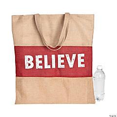 Holiday Handicraft Burlap Tote Bag