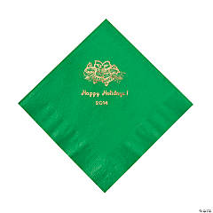Holiday Printed Green Luncheon Napkins