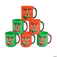 Holiday Reindeer Plastic Mugs