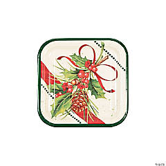 Holly Sprig Square Dessert Plates
