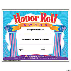 Honor Roll Award Certificate - 30 per pack, 6 packs
