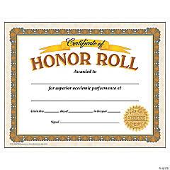 Honor Roll Certificate - 30 per pack, 6 packs