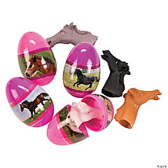 Horse Toy-Filled Plastic Easter Eggs - 12 Pc.