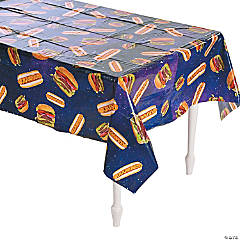 Hot Dogs & Burgers Plastic Tablecloth