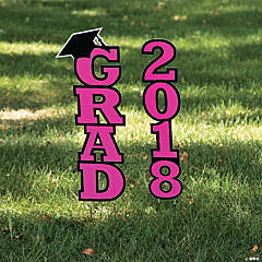 Hot Pink 2018 Grad Yard Sign