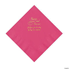 Hot Pink Always & Forever Personalized Napkins with Gold Foil - Luncheon