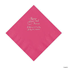 Hot Pink Always & Forever Personalized Napkins with Silver Foil - Luncheon