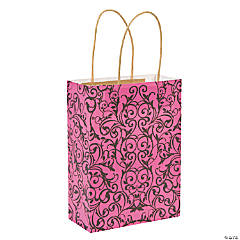 Hot Pink & Black Kraft Bags