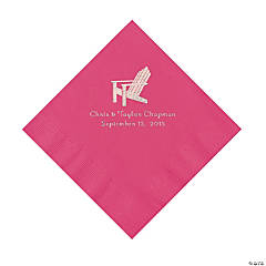 Hot Pink Beach Chair Personalized Napkins with Silver Foil - Luncheon