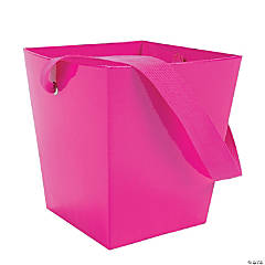 Hot Pink Candy Buckets with Ribbon Handle